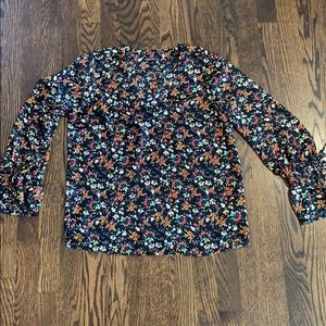 J Crew v neck floral top with tie sleeves